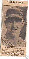 JIM ELLIOTT PHILLIES SENT TO QUAKERS MLB 1930 s NEWS PHOTO