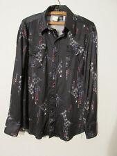 V7668 Panhandle slim Black Multi-color Geometric Western Shirt Men's 16.5-35