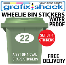x4 WHITE WHEELIE BIN NUMBERS CUSTOM HOUSE AND ROAD STREET NAME STICKERS