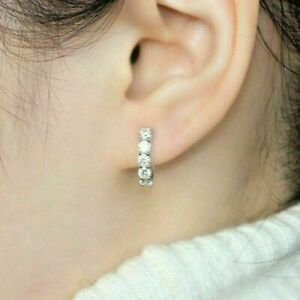 2.02 Ct Round Brilliant Cut Diamond Hoop Earrings Solid 14K White Gold Finish