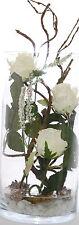 Seidenblumen Arrangement Kunstblumengesteck mit Rosen und Wasser Illusion