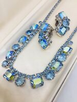 Vintage Weiss Signed Blue Aurora Borealis Rhinestone Necklace Choker & Earrings