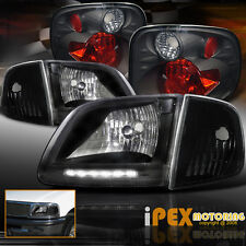 01-03 Ford F150 King Ranch Lightning LED Black Headlights + Corner + Tail Light