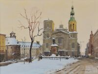 """Ross Huggins Oil Painting Twilight Notre Dame Quebec 18x24"""" Canadian Listed"""