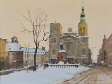 "Ross Huggins Oil Painting Twilight Notre Dame Quebec 18x24"" Canadian Listed"