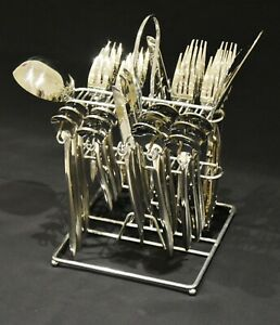 MTG SILVER 38 PIECE CUTLERY SET TABLE STAND STAINLESS STEEL CANTEEN CHRISTMAS