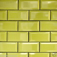 LIME GREEN GLOSS METRO VICTORIAN BEVELLED BRICK KITCHEN WALL TILES 10 X 20CM