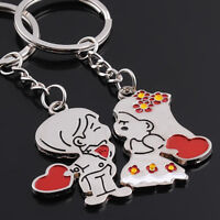 1 pair Lovers Heart Keychain Key Car Chain Ring Keyring Keyfob Bride & Groom