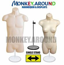 SET Mannequin Female & Male +Hanger & Stand,Body Torso Display Dress Shirt-FLESH