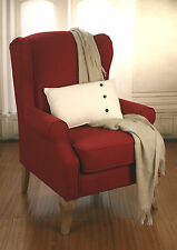 Wingback Chair Red Linen Oak French Provincial Arm Chair Comfortable Design
