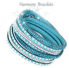 Teal Swarovski Elements Wrap Slake Bracelet by Harmony Bracelets