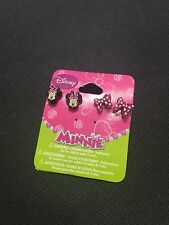 2 pair set Licensed Disney Minnie Mouse & Pink Bow Tie Ear Stud Earrings BNWT