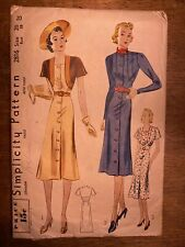 1930s Vintage Sewing Pattern Simplicty 2816 Sz 20 Volup