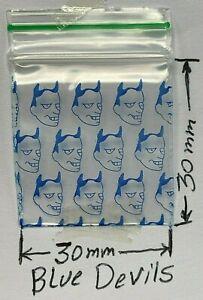 100 NEW 30x30mm BLUE DEVILS PRINT Small Plastic Bags Baggy Grip Seal Zip 3x3 cm