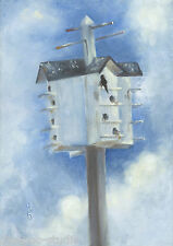 """High-rise Condo, Birdhouse"" Debra Sepos original oil 5"" x 7"" aviary bird house"