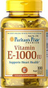 Puritan's Pride Vitamin E-1000 IU Healthy Skin and Immune Function 100 Softgels