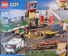 Leg City 60198 Güterzug Kran- Holz- Containerwaggon Geldtransporter Gleise NEU