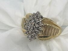 Stunning Multi Diamond and 10K Yellow Gold Ring in a Size 7
