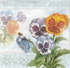 2 Serviettes en papier Fleurs Pensée Decoupage Paper Napkins Aquarell Pansy