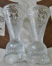 2 Older Avon By Fostoria Glass Heart & Diamond Convertible Candle Holder Vase