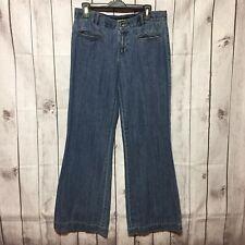 DKNY Blue Jeans Womens 8 Dark Wide Leg Cotton Medium Wash No Back Pockets