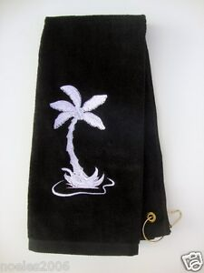Embroidered Golf Workout Bowling Hand Towel Palm Tree