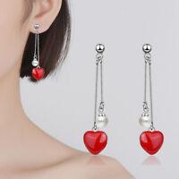Muye 925 Sterling Silver Earrings Stud Red Epoxy Heart Pearl Drop For Women