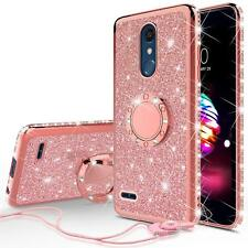 LG K30/LG Premier Pro LTE Cute Glitter Bling Phone Case for Girl Ring Kickstand