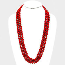 "90"" red faux pearl layered long choker collar bib statement Necklace 8mm"
