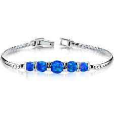 Created Blue Opal 5 Stone Bracelet Sterling Silver 2.75 Carats