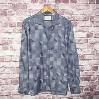 Robert Graham Tailored Fit Men's Button Front Shirt Chambray Patchwork Size XL