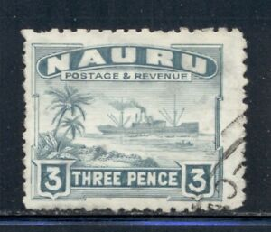 NAURU 22a SG31B Used 1947 3p grn gry Freighter shiny surfaced Cat$23