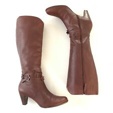 Miss Albright Anthropologie High Boots Knee Sz 9 Burgundy Leather Heel Riding