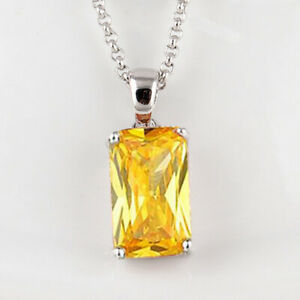 Newest Rectangle Shiny Yellow Citrine Gemstone Silver Charm Necklace Pendants