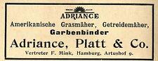 Adriance, Platt & co. hamburgo hierba americana-u. getreidemäher publicitarias 1897