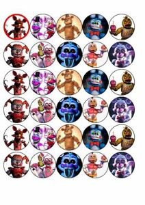 30 x Cup Cake Edible Cake Topper Edible Rice Paper FNAF Friday Night at Freddys