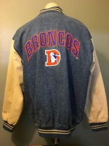 Vtg 1990s 90s Retro Denver Broncos Jean Bomber Jacket Mens M Denim Stadium Coat