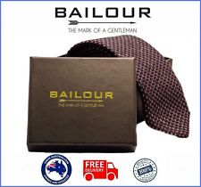 BAILOUR Tie Mens Luxury Handmade Maroon/Blue Textured Formal Wool Skinny Slim
