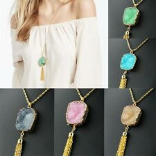 New Women Tassels Color Stone Pendant Long Gold Chain Sweater Necklace Jewelry