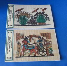 Museum Replicas - 2 Egyptian Scenes on Papyrus - Birds & Charioteer -