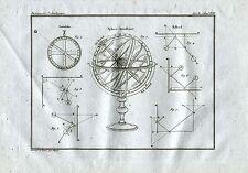 Astrolabio. Sfera Armillre. Bigliardo. Acquaforte su Rame. Stampa Antica. 1835