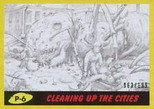 Mars Attacks The Revenge Yellow [199] Pencil Art Base Card P-6 Cleaning up the