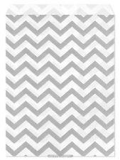 """100 Flat Merchandise Paper Bags: 5 x 7"""", Silver Grey Chevron Stripes on White"""