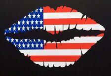 AMERICAN USA Flag Lips Car Sticker 12.5cm Iphone Ipad Wall Art USA V8 MUSTANG
