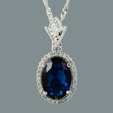 18K White Gold Plated Blue Sapphire Gem Stone Slide Pendant Necklace Curb Chain