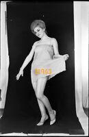 pretty semi-nude girl smiling in camisole, 1970s vintage fine art negative!