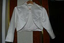petite veste de cérémonie boléro pour mariée satin ivoire manches 3/4 fendues