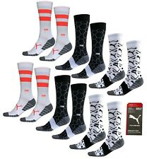 Puma Graphic Pattern Crew Golf Socks - Crew Cut - UK8 - UK11 - 6 Pairs - RRP£30