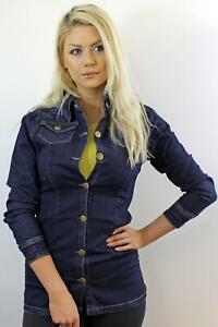 Women's Ladies Denim Jeans Long Jacket Biker Fit Coller Button Coat Shirt 8-14