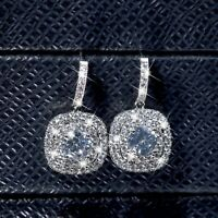 18k white gold gf stud made with Swarovski crystal luxury dangle drop earrings